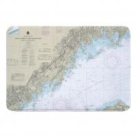CT-NY: North Shore of Long Island Sound; Greenwich Point, CT to New Rochelle, NY Nautical Chart Memory Foam Bath Mat