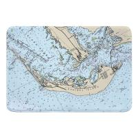 FL: Sanibel Island, FL (close up) Nautical Chart Memory Foam Bath Mat