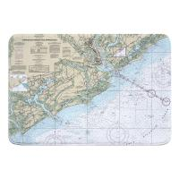 SC: Charleston Harbor and Approaches, SC Nautical Chart Memory Foam Bath Mat