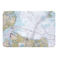 VA: Chesapeake Bay; Cape Charles to Norfolk Harbor, VA Nautical Chart Memory Foam Bath Mat