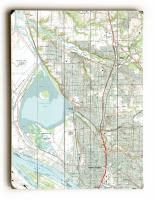 WA: Vancouver, WA (1990) Topo Map Sign