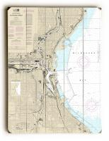 WI: Milwaukee Harbor, WI Nautical Chart Sign