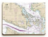 WA: Strait of Georgia, Strait of Juan De Fuca, WA Nautical Chart Sign