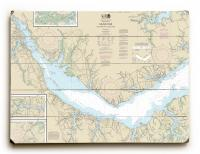 NC: Neuse River, Upper Bay River, NC Nautical Chart Sign