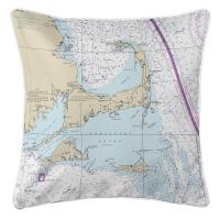 MA: Cape Cod, Martha's Vineyard, Nantucket, MA Nautical Chart Pillow