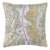 WA: Seattle, WA (Close-Up) Nautical Chart Pillow