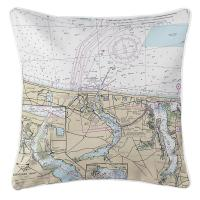NJ: Manasquan, Point Pleasant, NJ Nautical Chart Pillow