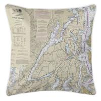 WA: Great Penninsula, Hood Canal, WA Nautical Chart Pillow