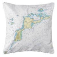 VI: Virgin Gorda, BVI II Nautical Chart Pillow