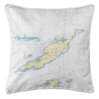 Anguilla, West Indies Nautical Chart Pillow