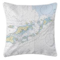 BVI: Tortola, Virgin Gorda, BVI Nautical Chart Pillow