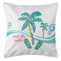 Deck the Palms Pillow - White