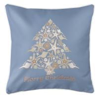 Seashell Christmas Tree Pillow- Steel Blue