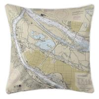 OR: Portland North, OR Nautical Chart Pillow
