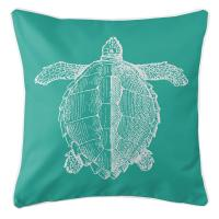 Vintage Sea Turtle Pillow - White on Aqua