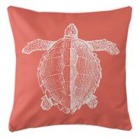 Vintage Sea Turtle Pillow - White on Coral