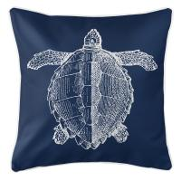 Vintage Sea Turtle Pillow - White on Navy