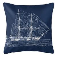 Vintage Ship Pillow - White on Navy