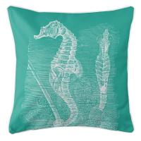 Vintage Seahorse Pillow - White on Aqua