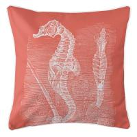 Vintage Seahorse Pillow - White on Coral