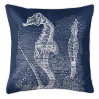 Vintage Seahorse Pillow - White on Navy