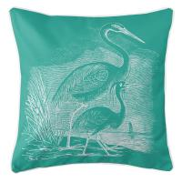 Vintage Egrets Pillow - White on Aqua