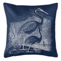 Vintage Egrets Pillow - White on Navy