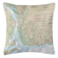 CT: Old Lyme, CT Nautical Chart Pillow