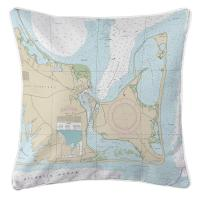 MA: Edgartown, Chappaquiddick Island, MA Nautical Chart Pillow