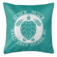 BHI, NC Sea Turtle Pillow - Aqua