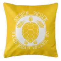 BHI, NC Sea Turtle Pillow - Yellow