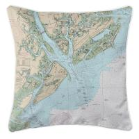 SC: Hilton Head Island, SC Nautical Chart Pillow
