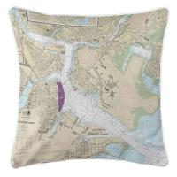 MA: Boston, MA Nautical Chart Pillow