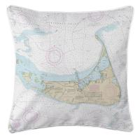 MA: Nantucket, MA Nautical Chart Pillow