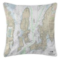 RI: Narragansett Bay, RI Nautical Chart Pillow