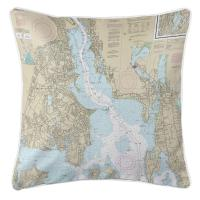 RI: Providence River, RI Nautical Chart Pillow