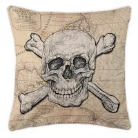 Skull & Crossbones Old World Nautical Chart Pillow