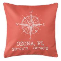 Ozona, FL Compass Rose Pillow - Coral