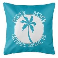 Crystal Beach, FL Island Palm Pillow - Calypso