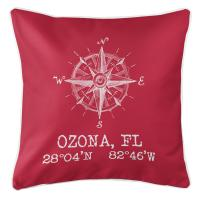 Ozona, FL Compass Rose Pillow - Red