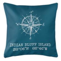 Indian Bluff Island, FL Compass Rose Pillow - Turquoise