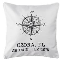 Ozona, FL Compass Rose  Pillow - White