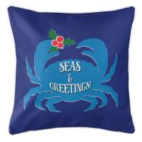 Seas & Greetings Crab Christmas Pillow - Dark Blue