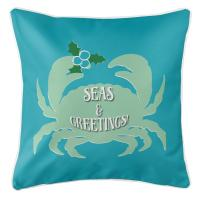 Seas & Greetings Crab Christmas Pillow - Light Turquoise, Mint
