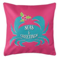 Seas & Greetings Crab Christmas Pillow - Pink, Light Turquoise