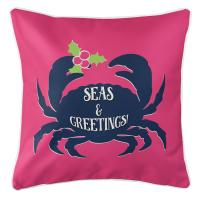 Seas & Greetings Crab Christmas Pillow - Pink, Navy
