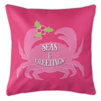 Seas & Greetings Crab Christmas Pillow - Pink