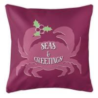 Seas & Greetings Crab Christmas Pillow - Plum