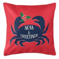 Seas & Greetings Crab Christmas Pillow - Red, Navy