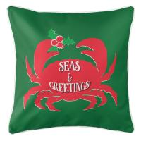 Seas & Greetings Crab Christmas Pillow - Red on Green